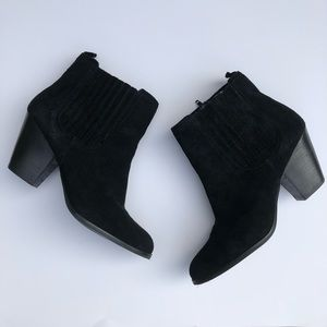 Nine West | Black Suede Ankle Zip Booties Boots